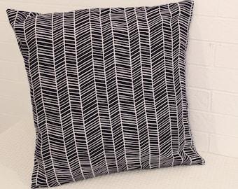 """17x17"""" Navy and White Herringbone Pillow Cover"""
