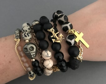 Animal Print jewelry, Animal Gold Bracelet 5 Stack, Gold Bracelet Stack, Skull Bracelets, Gold Chain Bracelet