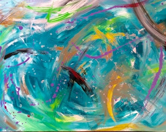 Sea dream acrylic painting on canevas one of a kind signed  60  x 90  cm