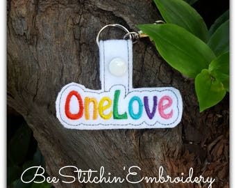 One Love ITH Snap Tab - 4x4 Embroidery Design - INSTANT DOWNLOAD