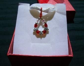 """Necklace, """" Circle Stars' Wire Wrapped, Red Wire, Silver Plated Stars, White Ribbon Necklace,"""