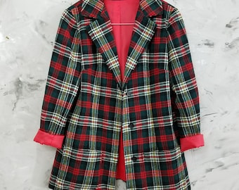 Plaid Jacket - 1970's Women's Red and Black Plaid Jacket - Business Casual - New York Eclectic Style Plaid Jacket - Plaid Blazer/Coat - Fun