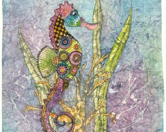 Seahorse Art,Batik Art,Watercolor Seahorse, Seahorse Watercolor,Zen-doodling,Sea Art Prints,Seahorse Painting,Watercolor Batik,Nature Art,