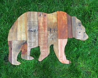 Reclaimed Planked Wood Bear Home Decor