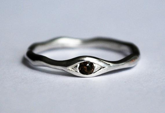 Silver and Smokey Quartz Eye Ring