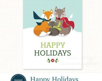 printable holiday card joy christmas card christmas card