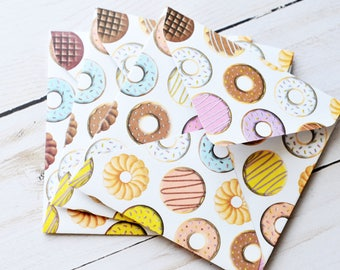 Donut Mini Cards // Gift Card Envelopes // Blank Cards // Enclosure Cards // Advice Cards // Lunchbox Notes // Food Stationery // Doughnuts