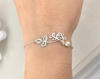 Perle d'eau douce et Matte branches Bracelet