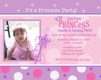 Pink And Purple With Dots Princess Birthday Party Invitation (Digital File)