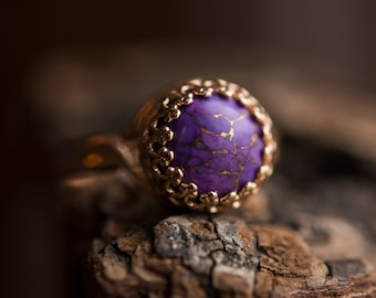 Purple Mohave Turquoise- Rose Gold Tone- Adjustable- Crown Ring