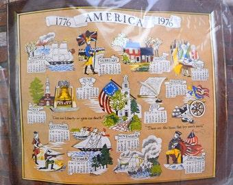 Vintage Crewel Kit, 1976 Bicentennial Calendar, Columbia Minerva, Unopened and Unused, Vintage Craft Supply, 1970s