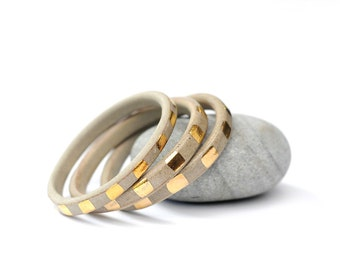 GOLDEN CHILD - Gold Stripes on Tan Clay - Handmade Ceramic Bangle
