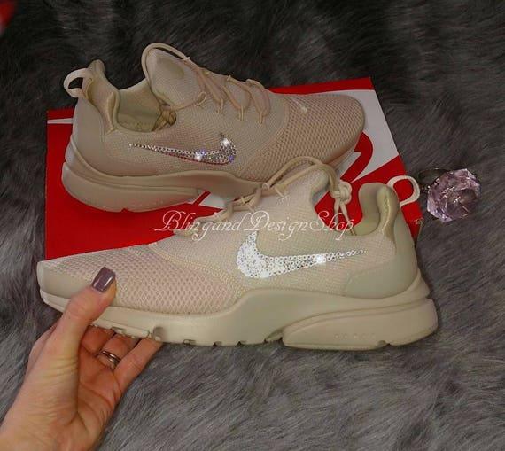 1837f3f782ef ... NWT Women s Nike Presto Fly Shoe Beige Custom with Swarovski Crystal  Rhinestones