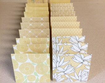 Mini Cards 24 yellow mix - blank for thank you notes 3 x 3