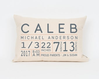 Custom Baby Gift, Woodland Nursery, Birth Announcement, Gift for New Mom, Baby Boy Gift, Personalized Baby Gift, Nursery Decor, Baby Pillow