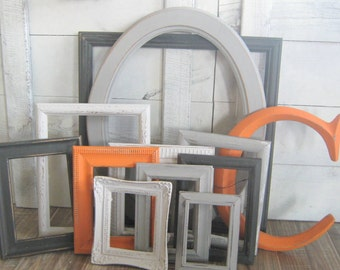 Charcoal Gray, Orange, Light Gray, White Photo Frames / Shabby Chic Frames/ Gallery Wall Picture Frames / Upcycled / Ryder Collection