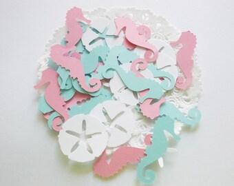 Seahorse Confetti, Ocean Sea Life Cutouts, Gender Reveal, Baby Shower, Nautical Confetti, Sand Dollars, Starfish, Party Decoration, 100