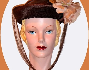 1940s Brown Straw Weave Suit Hat !!