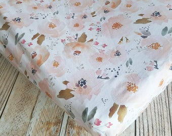 Floral Crib Sheet - Girls Baby Sheet - Peach Crib Sheet - Toddler Sheet - Floral Changing Pad Cover - Baby Shower Gift - Baby Bedding