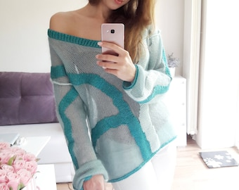 Sweater from kid mahair and silk (handmade knitwear)