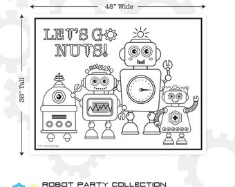 """Robot Printable Giant Coloring Poster 48"""" x 36"""" 