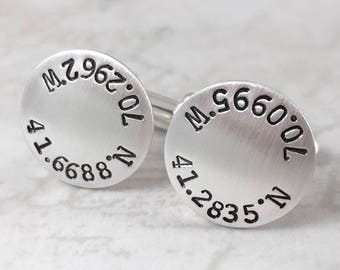 Inspirational, Sterling silver cufflinks, custom coordinates cufflinks, personalized cuff links, mens personalized cufflinks