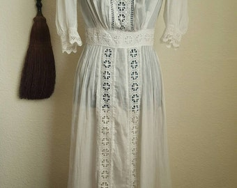 1910s Antique White Cotton Edwardian Tea Dress, Size Small