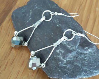 STERLING SILVER WIRE hook, Handmade, Earrings with Rondelle beads.