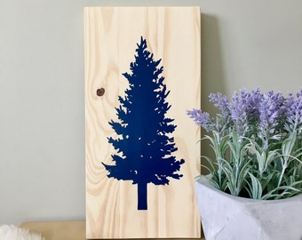 Wood Wall Art, Tree Painting, Spruce Tree, Pine Tree, Tree Art, Christmas Tree, Christmas Decoration, Spruce Painting, Wall Décor,Home Décor