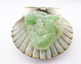 Bonfire Beach Glass, Genuine Sea Glass, Large Jewelry Supply, Green White Beach Glass