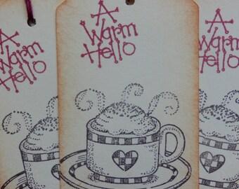 Coffee Tags- A Warm Hello - Heart Coffee/Cocoa Tags (8)