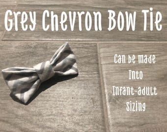 Grey Chevron Bow Tie
