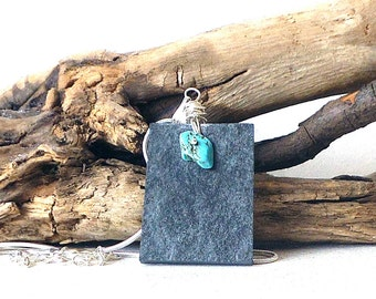 Slate Pendant - Slate Necklace - Lake District Slate Pendant - Turquoise Howlite Necklace - Natural Stone Pendant