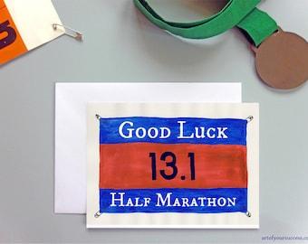 Good Luck Half Marathon card, 13.1 card, good luck 13.1 card, running card, card for runner