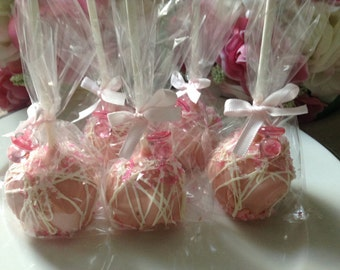 Pink Cake Pops Pink Wedding Cake Pops Pink Party Favors First Birthday Party Favors Pink and White Cake Pops Sweet 16 Party Cake Pops Favors