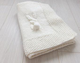 Knitting Pattern PDF Rabbit's Tail Baby Blanket
