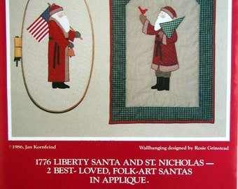Olde Santas By Jan Kornfeind And Country Appliques Vintage Quilt Pattern Packet 1986