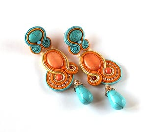 Long Dangle Soutache Earrings, Soutache, Handmade Earrings, Soutache Jewelry, Gift for Wife, Boho Jewelry, Mothers Day, Orange Earrings
