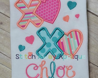 Personalized Valentine's XOXO Heart Hugs and Kisses Applique Shirt or Onesie Girl or Boy