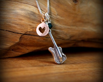 Sterling silver electric OR acoustic guitar necklace
