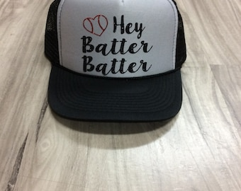 Hey Batter Batter Trucker Hat Baseball Trucker Hat Baseball Season Womens Trucker Hats Glitter Hat Baseball Hat Womens Trucker Hat