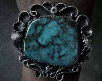 Turquoise Cuff Bracelet, Sterling Silver