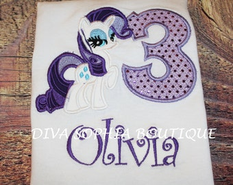 Personalized Rarity Bodysuit - T-shirt - Birthday - My Little Pony - Embroidered