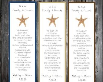 50 Beach Starfish Wedding Bookmarks Favor