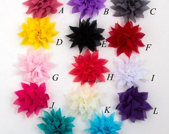 Free Shipping Tulle Lotus Chiffon Flower For Children Hair Accessories Chic Artificial Fabric Flowers For Headbands Flower Supplies 4.4""
