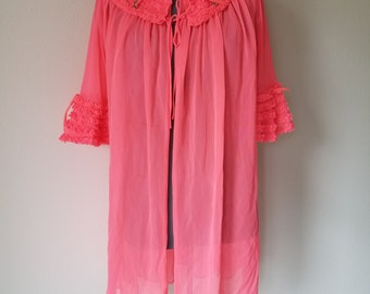 Vintage 1950's/1960's Bright Coral Peignoir Robe