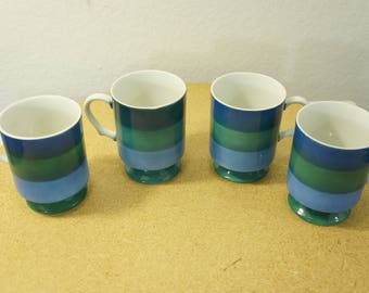 4 holt howard 1966 Japan Blue Green Striped pedestal mugs alternating stripes #7932