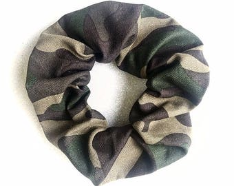 Army scrunchie/green scrunchie/green hair elastic/camouflage scrunchie/pattern scrunchie/