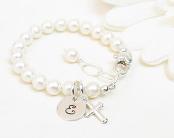 Personalized Baptism or Christening Bracelet - Girl Baptism Christening Communion or Confirmation Gift - Newborn Infant Baby Little Girl