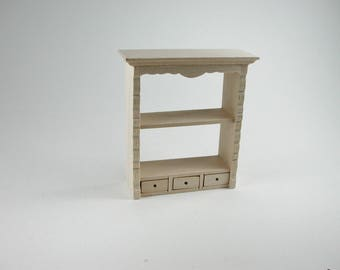 Hanging shelf with two drawers, for the doll parlor, the doll's House, Dollhouse miniatures, cribs, miniatures, Model Building # v 22065